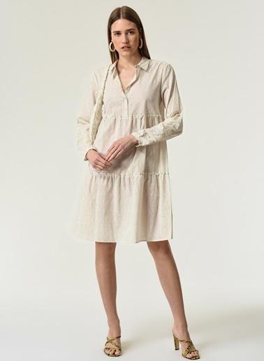 NGSTYLE Kadın Beyaz Gömlek Yaka Elbise NGKSS21EL0026 Ekru